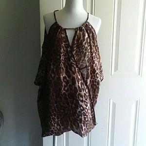 Blush animal print blouse
